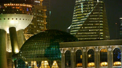 Shanghai night,closeup of pearl-town & pudong financial building. Stock Footage