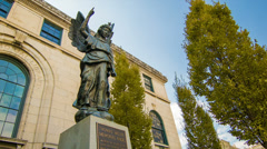 Thomas Wolfe Memorial Angel Statue in Asheville, NC Stock Footage