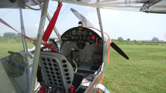 Cockpit of light aircraft Stock Footage