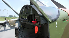 Cockpit and seats of light aircraft Stock Footage