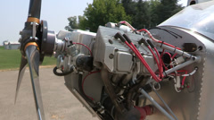 Detail of engine of light aircraft Stock Footage