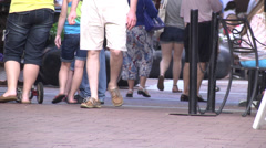 People walking ground level view 02 Stock Footage