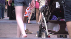 People walking ground level view 01 Stock Footage