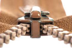 brown zipper - stock photo