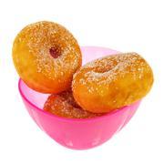 Pink bowl sugary donuts Stock Photos
