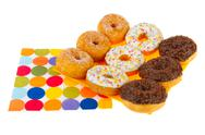 Stock Photo of sugary donuts with colorful glaze