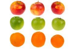 Fresh apples and oranges Stock Photos