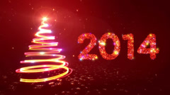 New year background. 2 colors in 1. 2014. Red/Black. Stock Footage