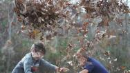 Stock Video Footage of Kids Playing Leaves