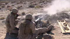Marines fire M2 .50 Caliber Machine Gun Stock Footage