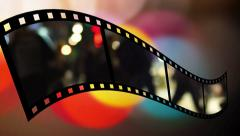 Film strip with blurred people Stock Footage