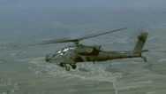 Stock Video Footage of Air to Air Views of AH-64 Apache Helicopters
