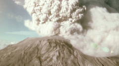 Aerial view of an erupting volcano - stock footage
