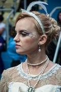 unusual makeup when beauty meets art. girl contestant on decorative makeup fo - stock photo