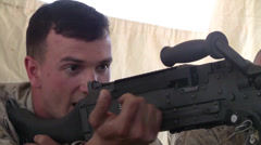 Marines learn how to operate fire M2 .50 Caliber Machine Gun Stock Footage