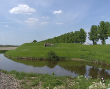 Earth rampart in dike near Hoofddorp, The Netherlands Stock Footage