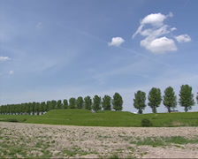Earth rampart in dike near Hoofddorp, The Netherlands + tilt down field Stock Footage