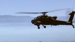 Air to Air Views of AH-64 Apache Helicopters Stock Footage