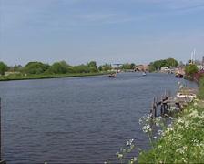 Ringvaart (ring canal) near Vijfhuizen,  a circular canal  in a Dutch polder Stock Footage