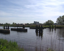 Dam sluice in Ringvaart (ring canal)  Haarlemmermeer, built for military use Stock Footage