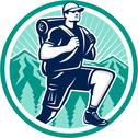 Stock Illustration of hiker hiking mountain retro
