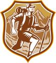 Stock Illustration of hiker hiking mountain shield woodcut retro