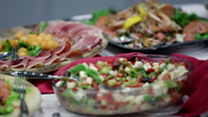 Stock Video Footage of Buffet full of different food delights