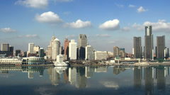 Stock Video Footage of Detroit Skyline Afternoon Time Lapse 1 (4K)