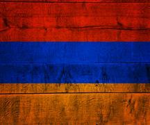armenia flag on wood - stock photo