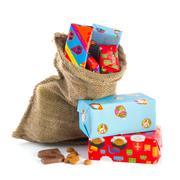 bag full of sinterklaas presents - stock photo