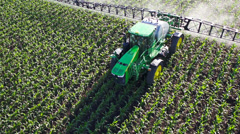 Tractor Sprayer aerial Stock Footage