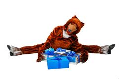 bear and gifts - stock photo