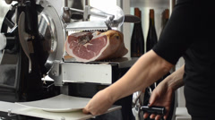 Ham slicer Stock Footage