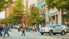 People and Vehicles on College Street in Asheville, NC Stock Footage
