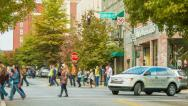 Stock Video Footage of People and Vehicles on College Street in Asheville, NC