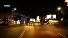 Driving POV Timelapse 45 Los Angeles Sunset Strip at Night - stock footage