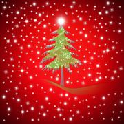 Red christmas greeting fir tree Stock Illustration