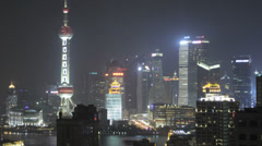 Aerial view of the Shanghai skyline at night Stock Footage