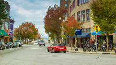 Lively Asheville City Street with People, Buildings, Trees & Traffic Stock Footage
