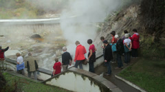Stock Video Footage of tourists visiting hot springs, furnas, san miguel, azores