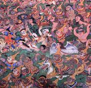 Stock Photo of ancient thai mural