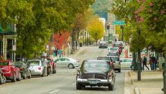 Asheville, NC's Patton Avenue Traffic Towards Vance Memorial Stock Footage