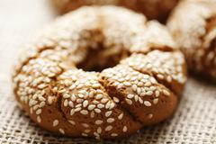 wholegrain bagel bread - stock photo