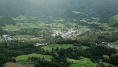 Overall view of furnas and fields, san miguel, azores Stock Footage