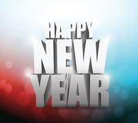 happy new year 3d sign over party lights - stock illustration