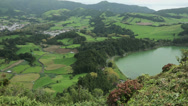 Stock Video Footage of overall view of furnas lake and fields, san miguel, azores