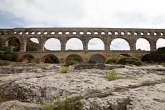 scenic view of roman built pont du gard aqueduct, vers-pont-du-gard in south  - stock photo
