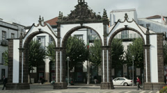 Matriz square with town gates, ponta delgada, san miguel island, azores Stock Footage