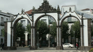 Stock Video Footage of matriz square with town gates, ponta delgada, san miguel island, azores