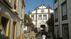 Cathedral, ponta delgada, san miguel island, azores Stock Footage